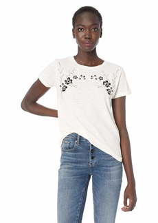 Lucky Brand Women's Floral Embroidered TEE  XL