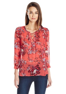 Lucky Brand Women's Floral Lace-up Peasant Top