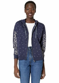 Lucky Brand Women's Floral Placed Hooded Zip UP Sweatshirt  M
