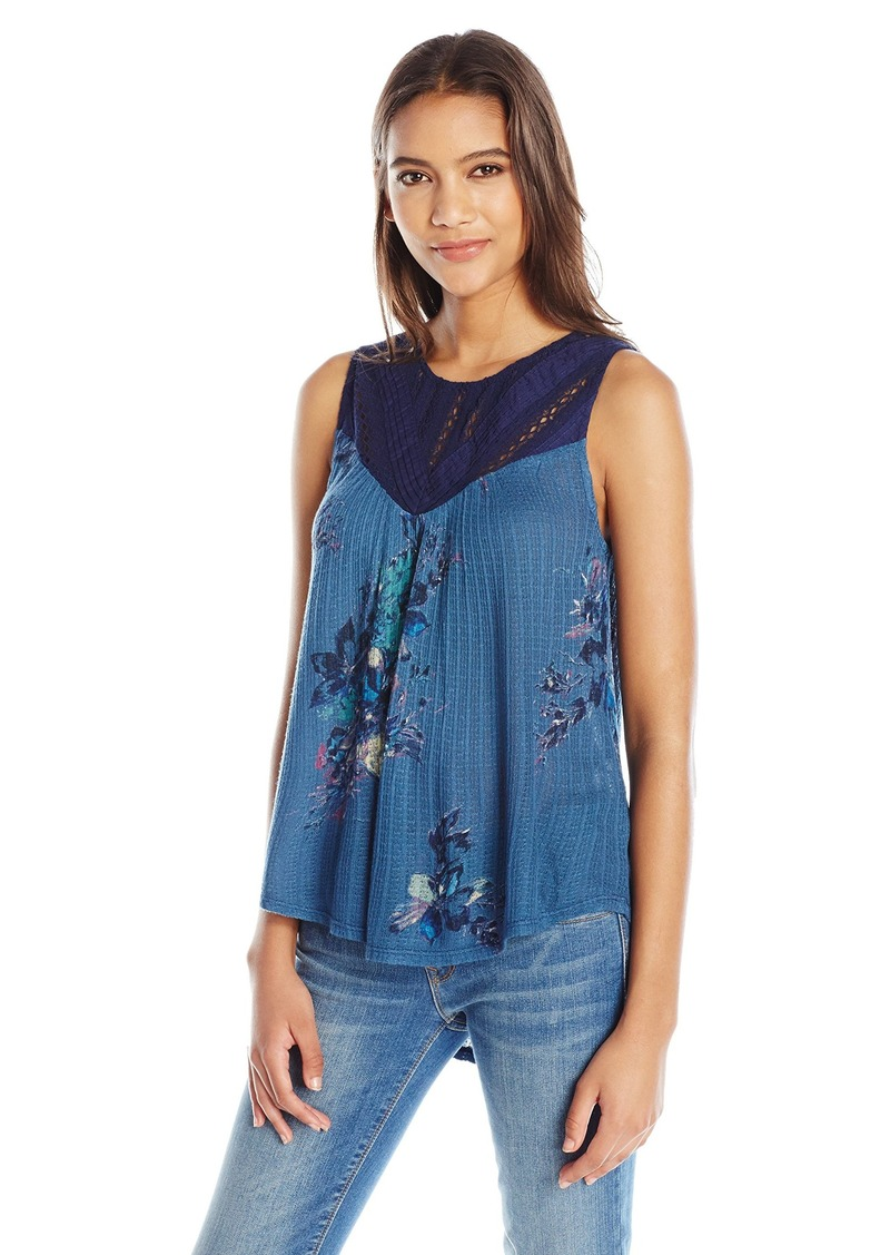 Lucky Brand Women's Floral Print Mixed Lace Yoke Tank Top
