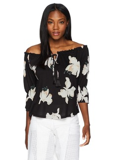 Lucky Brand Women's Floral Print Off-Shoulder TOP  M