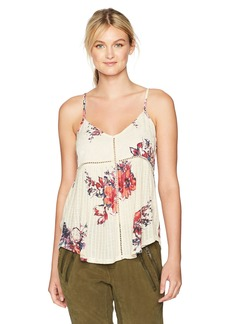 Lucky Brand Women's Floral Printed Drop Needle Top