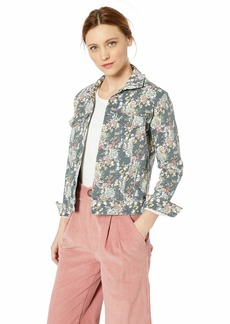 Lucky Brand Women's Floral Tomboy Trucker Jacket Grey Multi S