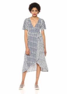 Lucky Brand Women's Flutter Sleeve Printed WRAP Dress  XS