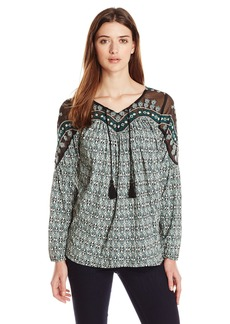 Lucky Brand Women's Folk Diamonds Top  X-Small