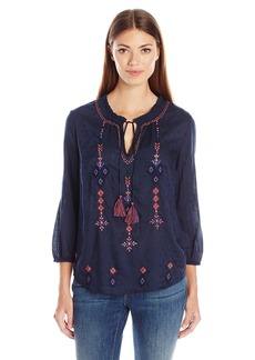 Lucky Brand Women's Gathered Neck Peasant Top