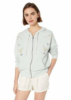 Lucky Brand Women's GEO Embroidered Zip UP Sweatshirt  M
