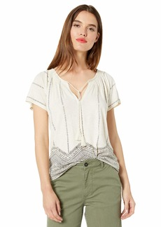 Lucky Brand Women's GEO Print Smocked TOP  L