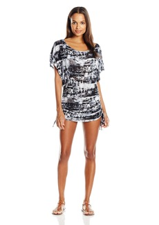 Lucky Brand Junior's Global Tie Dye Knit Shirred Tunic Cover up  M
