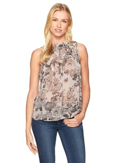 Lucky Brand Women's Grey Floral Tucked Tank Top