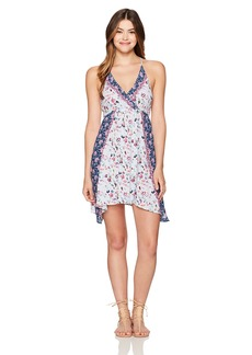 Lucky Brand Junior's Gypsy Floral Faux Wrap Swing Dress Cover up  S
