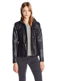Lucky Brand Women's High Collar Faux Leather Jacket  L