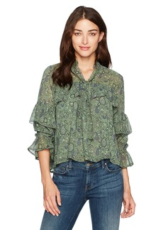 Lucky Brand Women's High Neck Ruffle Blouse in Green Multi S