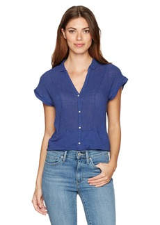 Lucky Brand Women's Short Sleeve Woven Gauze Top