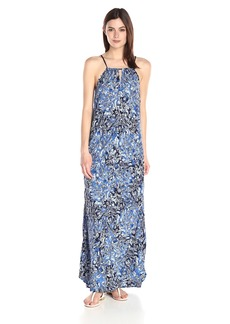 Lucky Brand Women's Indigo-Floral Maxi Dress  X-Large