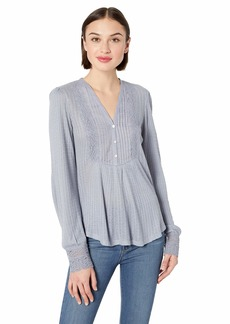 Lucky Brand Women's LACE Mix Drop Needle TOP  XS