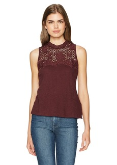 Lucky Brand Women's Lace Mock Neck Top