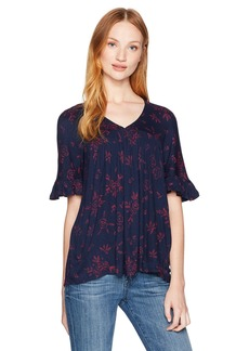Lucky Brand Women's Lace Sleeve Trim Top