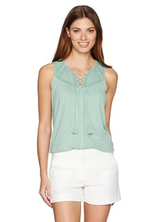 Lucky Brand Women's Lace up Washed Tank