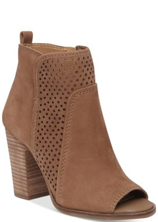 Lucky Brand Women's Lakmeh Peep-Toe Perforated Booties Women's Shoes