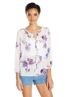 Lucky Brand Women's Large Floral Peasant Top