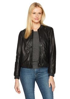 Lucky Brand Women's Leather Bomber Jacket Black