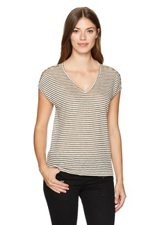 Lucky Brand Women's Linen Stripe Tee Natural