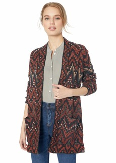 Lucky Brand Women's Long Ikat Open Front Cardigan Sweater red/Multi L