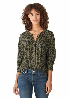 Lucky Brand Women's Long Sleeve Brushed Hacci Henley Top  M