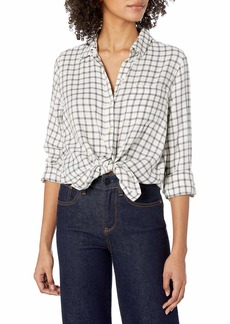 Lucky Brand Women's Long Sleeve Button Up one Pocket Classic Plaid Shirt