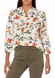 Lucky Brand Women's Long Sleeve Button Up One Pocket Floral Megan Popover Top  XS