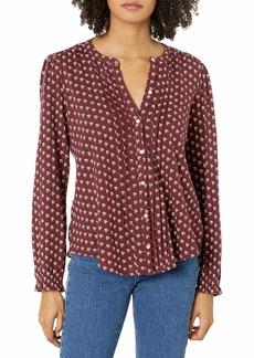 Lucky Brand Women's Long Sleeve Button Up Printed Pintuck Blouse  XL