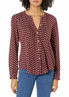 Lucky Brand Women's Long Sleeve Button Up Printed Pintuck Blouse  M