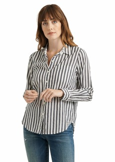 Lucky Brand Women's Long Sleeve Button Up Stiped Classic One Pocket Shirt