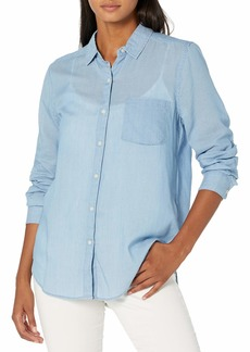 Lucky Brand Women's Long Sleeve Classic One Pocket Button Front Shirt  XL
