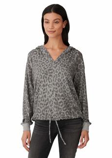 Lucky Brand Women's Long Sleeve Cloud Jersey Leopard Print Hoodie Sweater  XS
