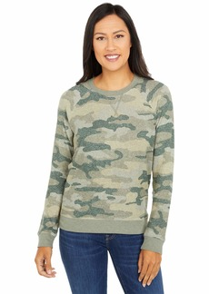Lucky Brand Women's Long Sleeve Crew Neck Camo Print Sweatshirt  XL