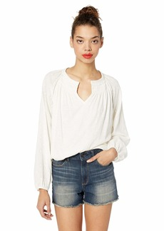Lucky Brand Women's Long Sleeve Embroidered Neckline Peasant TOP  XL