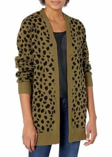Lucky Brand Women's Long Sleeve Open Front Leopard Mid Length Cardigan  M