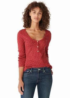 Lucky Brand Women's Long Sleeve Scoop Neck Printed Henley Top  XL