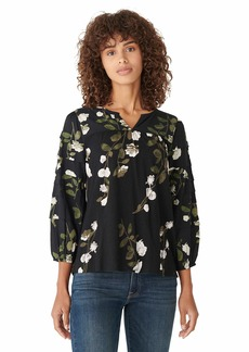 Lucky Brand Women's Long Sleeve Split Neck Printed Mixed Media Blouse  M