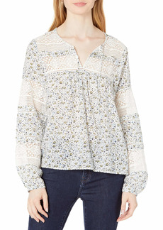 Lucky Brand Women's Long Sleeve Tie Neck Lace Inset Boho Blouse  L