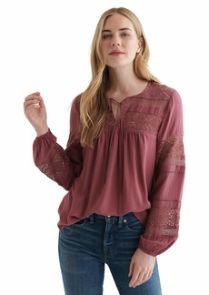 Lucky Brand Women's Long Sleeve Tie Neck Lace Inset Boho Blouse  XS