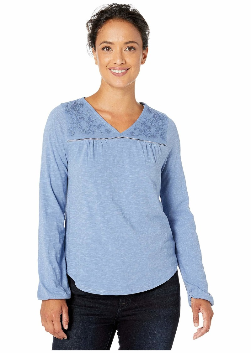 Lucky Brand Women's Long Sleeve V-Neck Embroidered Top  XL