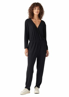 Lucky Brand Women's Long Sleeve Wrap Front Brushed Hacci Jumpsuit  M