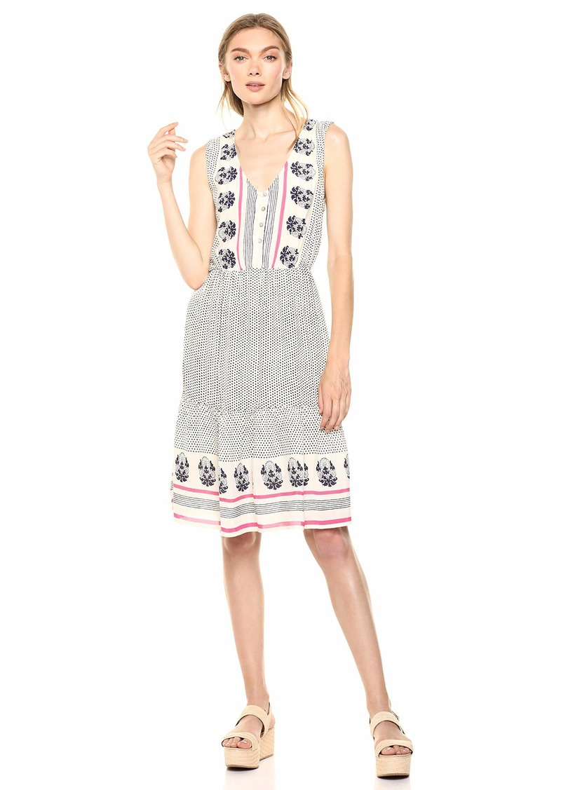Lucky Brand Women's Luna Border Print Dress  XS