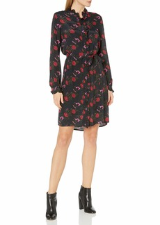 Lucky Brand Women's Mackenzie Long Sleeve Tie Waist Floral Dress  X Small