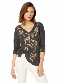 Lucky Brand Women's Metallic Embroidered Floral TEE  L