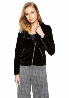Lucky Brand Women's Michelle Velvet Moto Jacket Black L