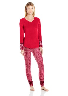 Lucky Brand Women's Microfleece V-Neck Pajama  L